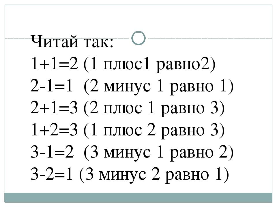 Читай так: 1+1=2 (1 плюс1 равно2) 2-1=1 (2 минус 1 равно 1) 2+1=3 (2 плюс 1 р...