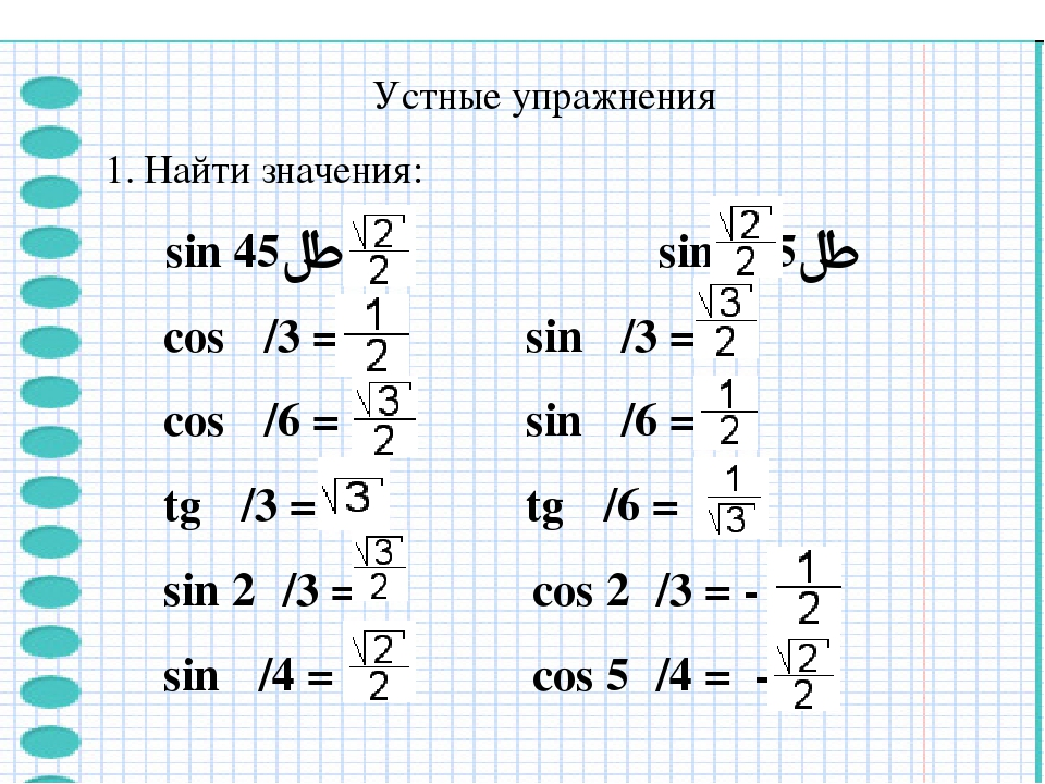 Устные упражнения Найти значения: sin 45°= sin 135°= cos π/3 = sin π/3 = cos...