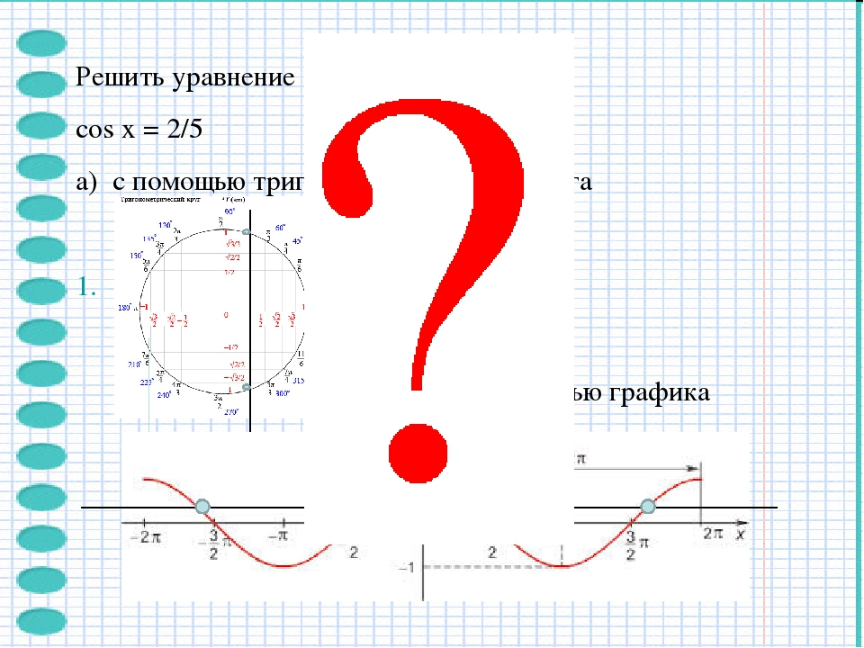 Решить уравнение cos x = 2/5 а) с помощью тригонометрического круга б) с помо...