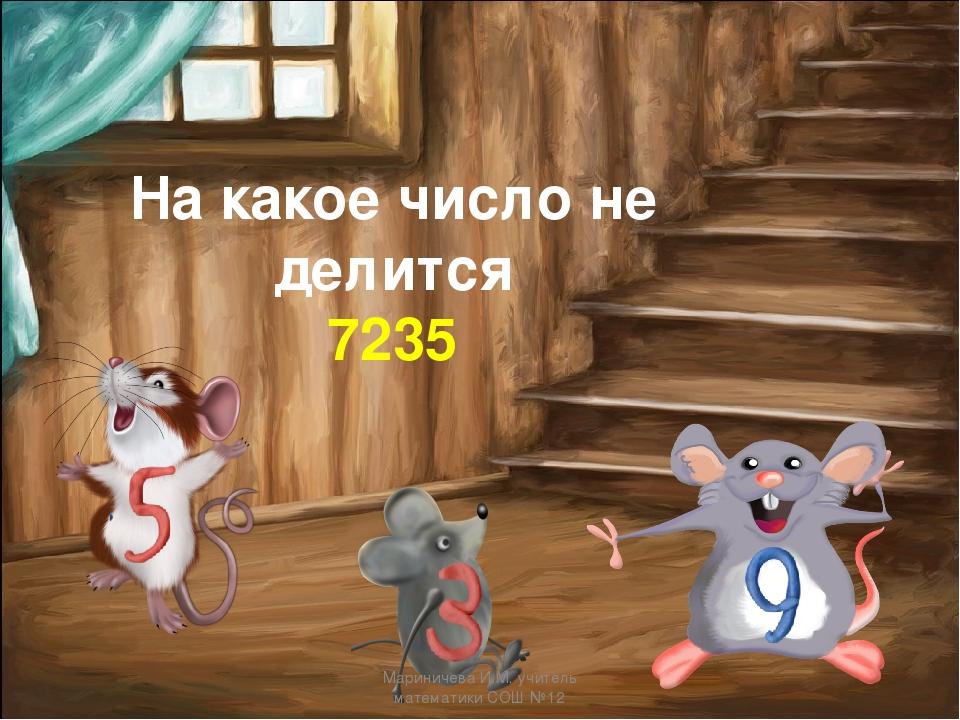 На какое число не делится 7235 Мариничева И.М. учитель математики СОШ №12 Мар...