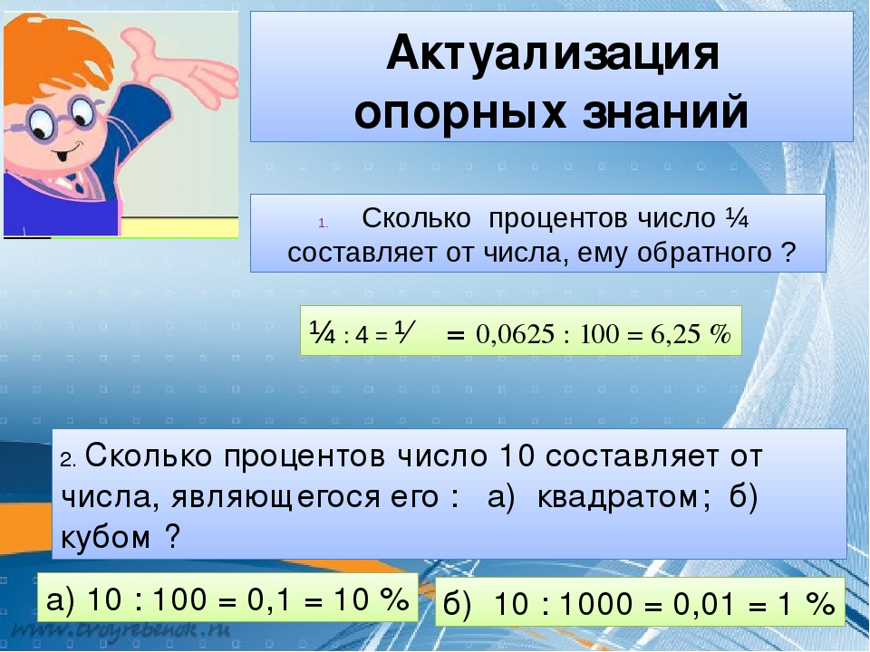 Актуализация опорных знаний Сколько процентов число ¼ составляет от числа, ем...