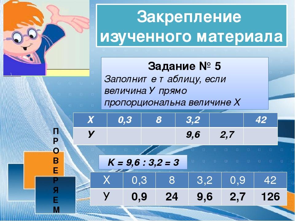 Закрепление изученного материала Задание № 5 Заполните таблицу, если величина...