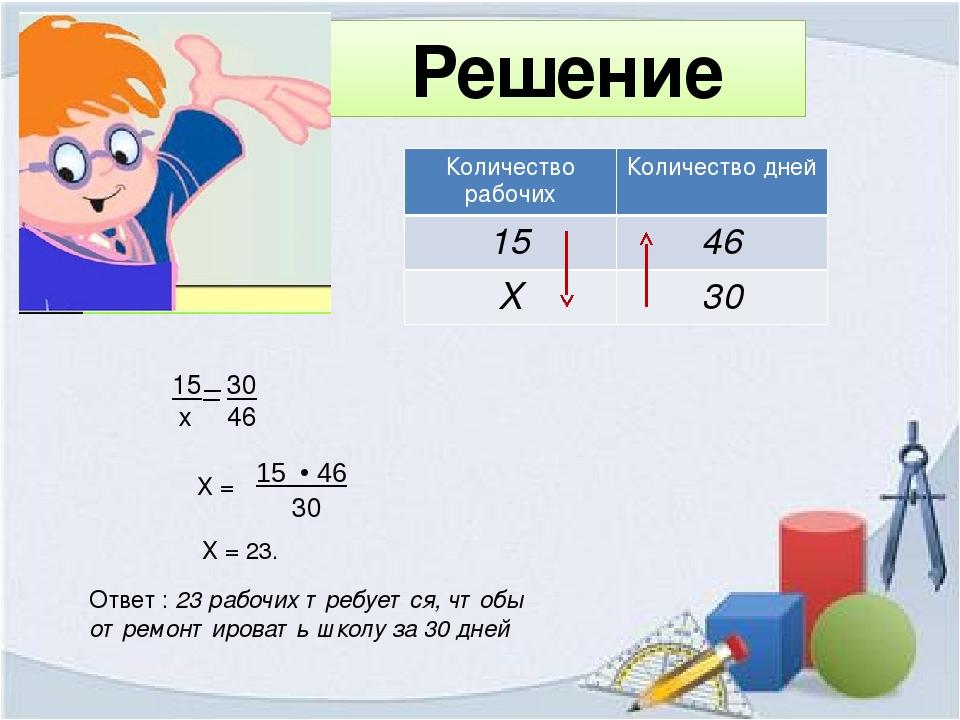 Решение 15 х 30 46 Х = 15 • 46 30 Х = 23. Ответ : 23 рабочих требуется, чтобы...