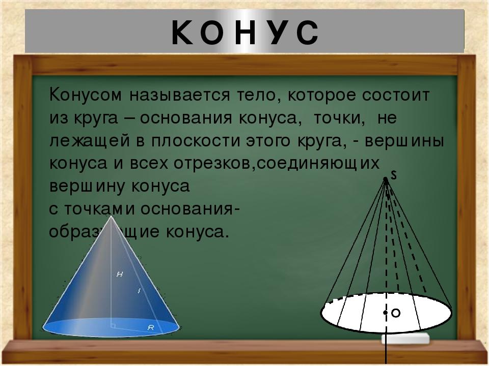 К О Н У С Конусом называется тело, которое состоит из круга – основания конус...