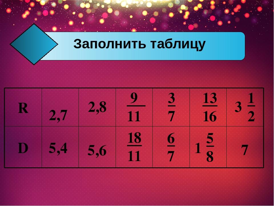 2,7 3 7 3 1 2 2,8 9 11 13 16 5,6 18 11 1 5 8 5,4 6 7 7 Заполнить таблицу D R
