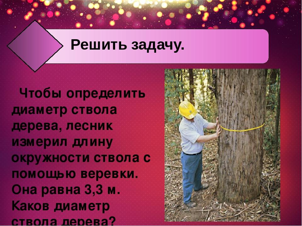 Чтобы определить диаметр ствола дерева, лесник измерил длину окружности ствол...