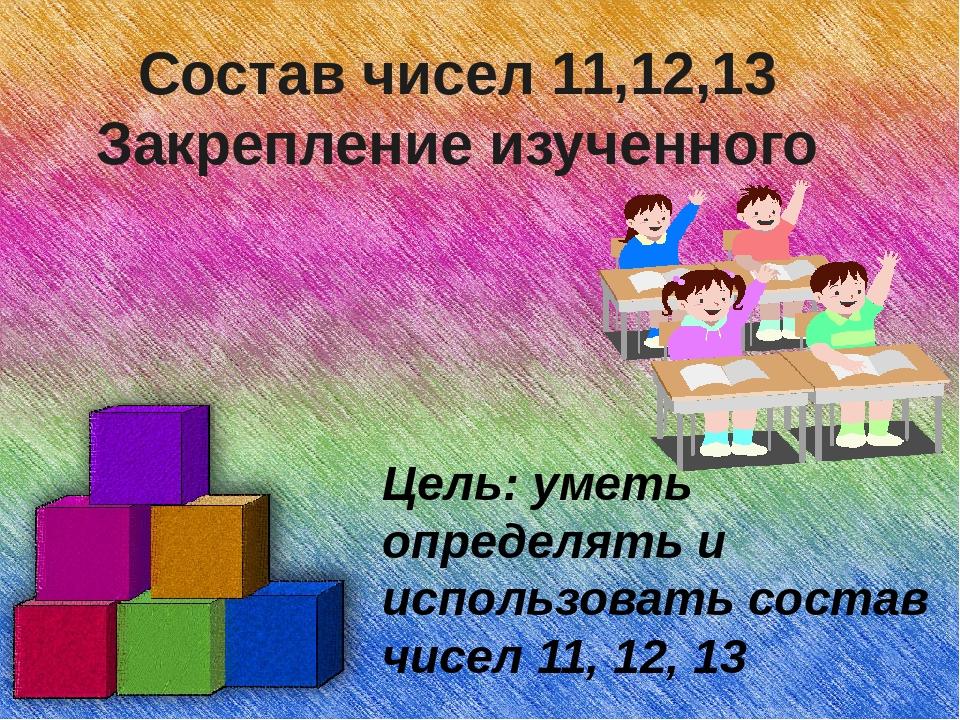 Состав чисел 11,12,13 Закрепление изученного Цель: уметь определять и использ...