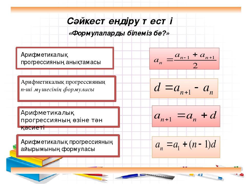 Арифметикалық прогрессияның n-ші мүшесінің формуласы Арифметикалық прогрессия...
