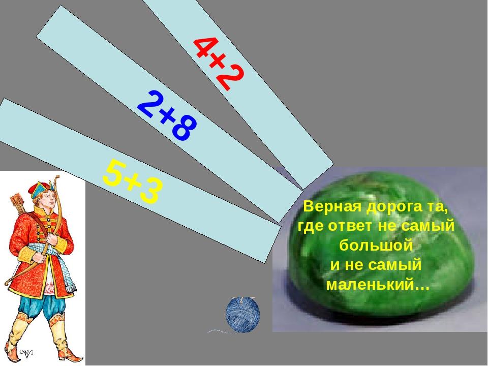 Верная дорога та, где ответ не самый большой и не самый маленький… 5+3 2+8 4+2