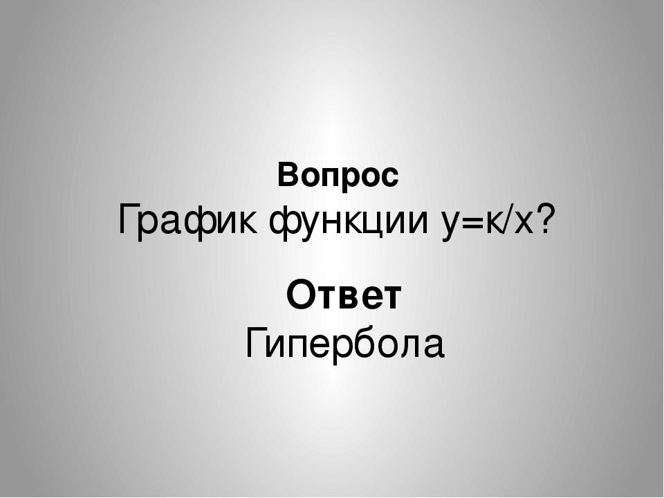 Вопрос График функции у=к/х? Ответ Гипербола