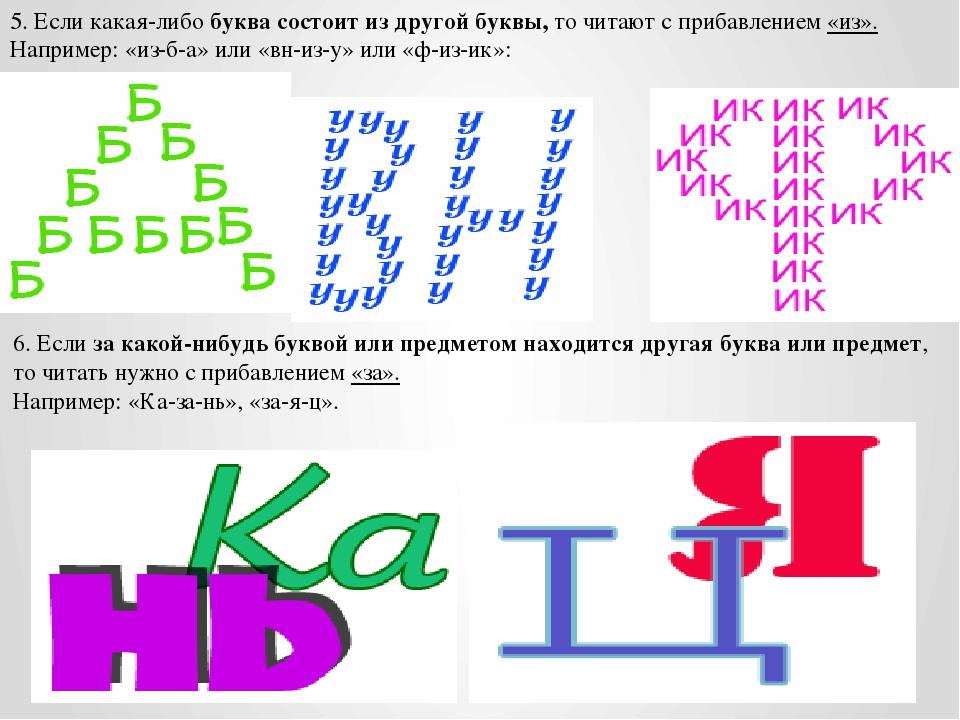 5. Если какая-либо буква состоит из другой буквы, то читают с прибавлением «и...