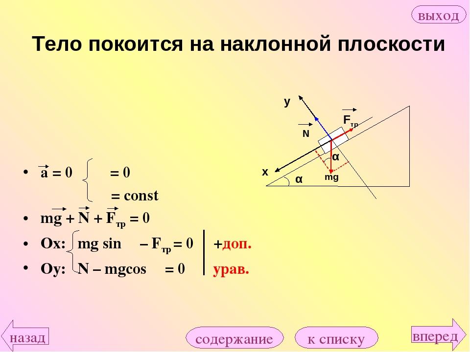 a = 0 υ = 0 υ = const mg + N + Fтр = 0 Ox: mg sin α – Fтр = 0 +доп. Оy: N – m...