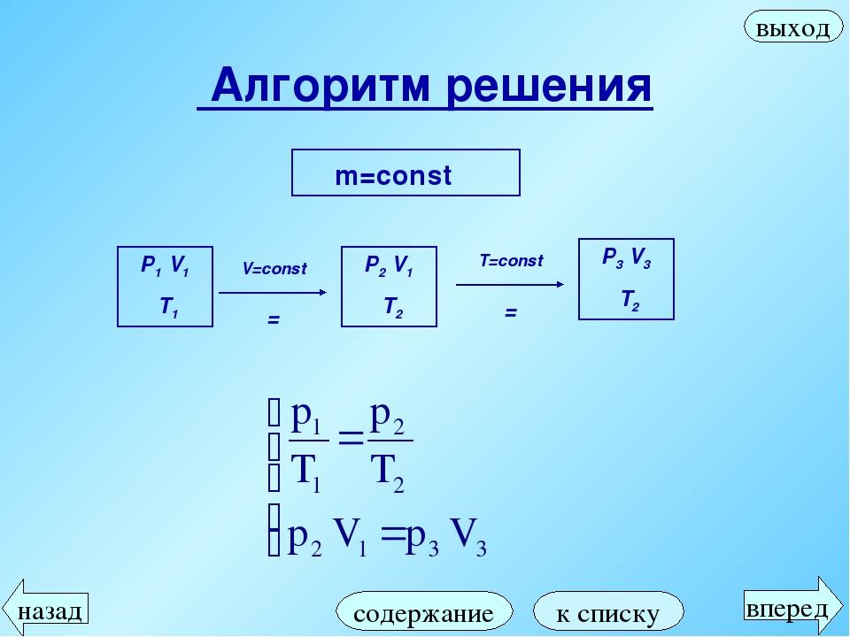 Алгоритм решения m=const содержание вперед назад выход к списку