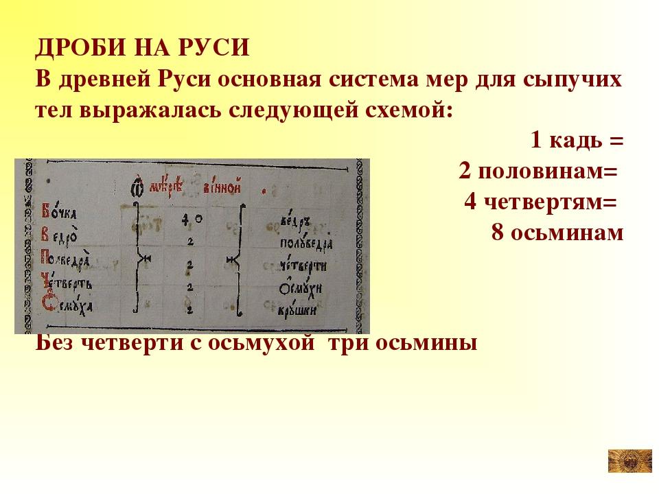 ДРОБИ НА РУСИ В древней Руси основная система мер для сыпучих тел выражалась...