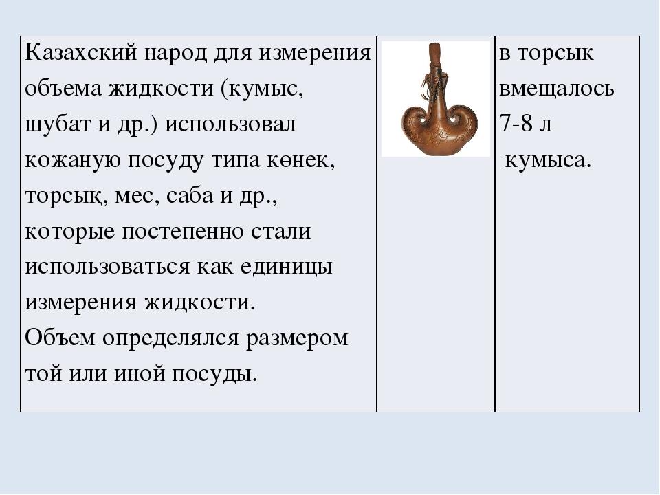 Казахский народ для измерения объема жидкости (кумыс,шубати др.) использовал...