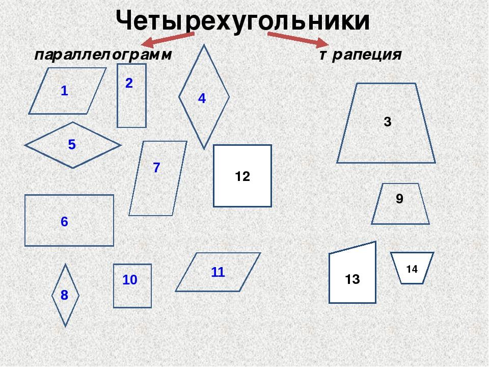 Четырехугольники параллелограмм трапеция 3 9 12 13 14 6 10 11 5 5 8 8 1 2 4 7 2