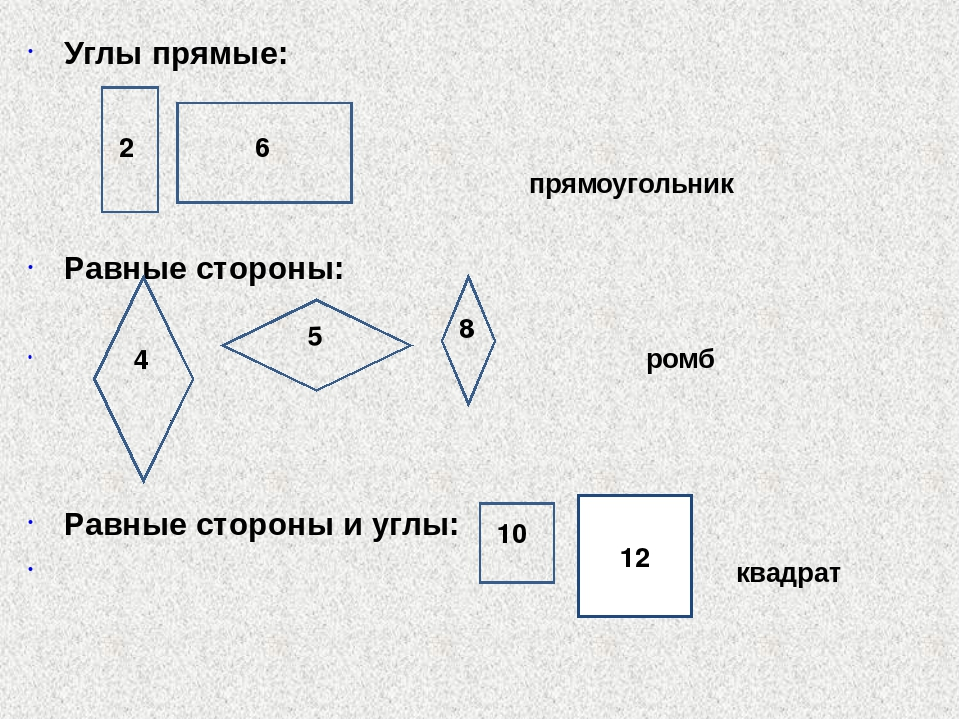 Углы прямые: прямоугольник Равные стороны: ромб Равные стороны и углы: квадра...