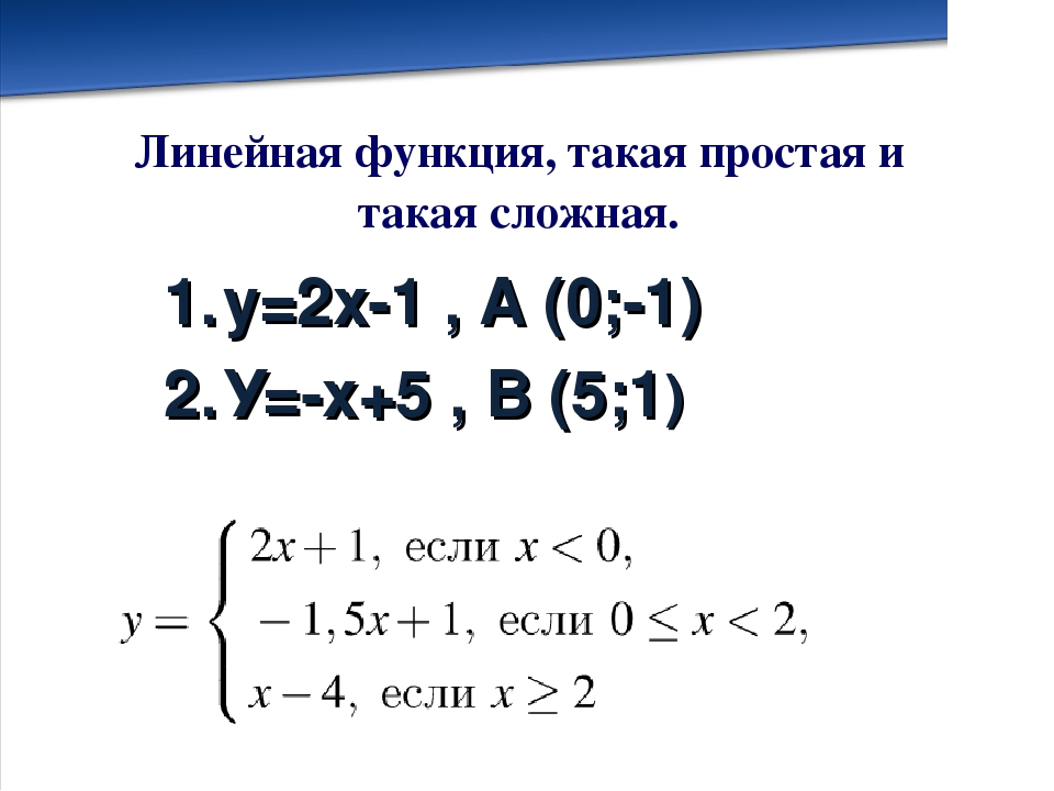 у=2х-1 , А (0;-1) У=-х+5 , В (5;1) Линейная функция, такая простая и такая сл...