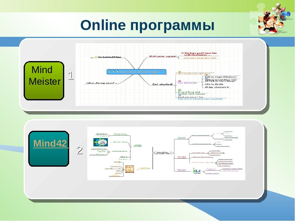 Online программы Mind Meister 1 Mind42 2