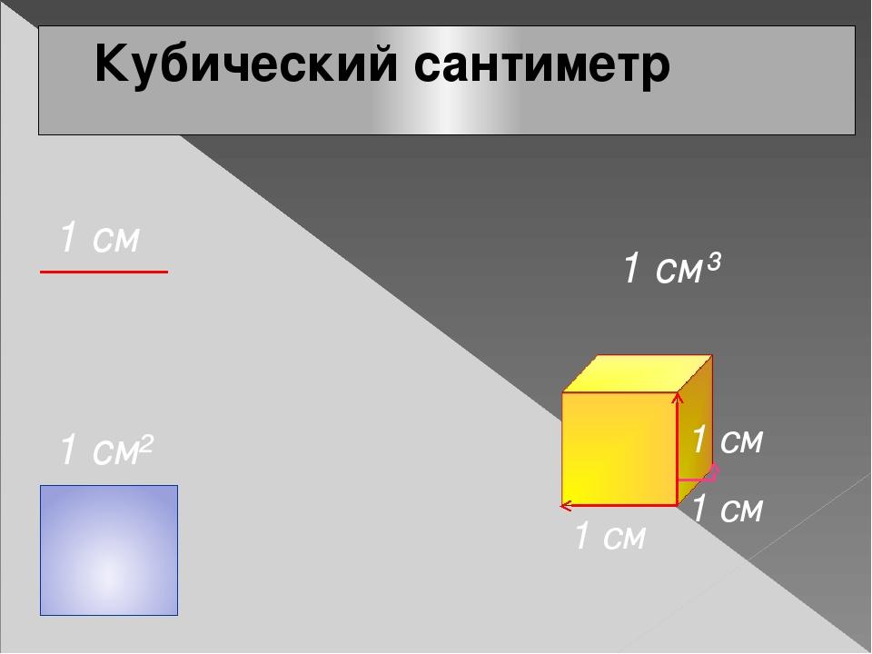 Кубический сантиметр 1 см² 1 см 1 см³ 1 см 1 см 1 см