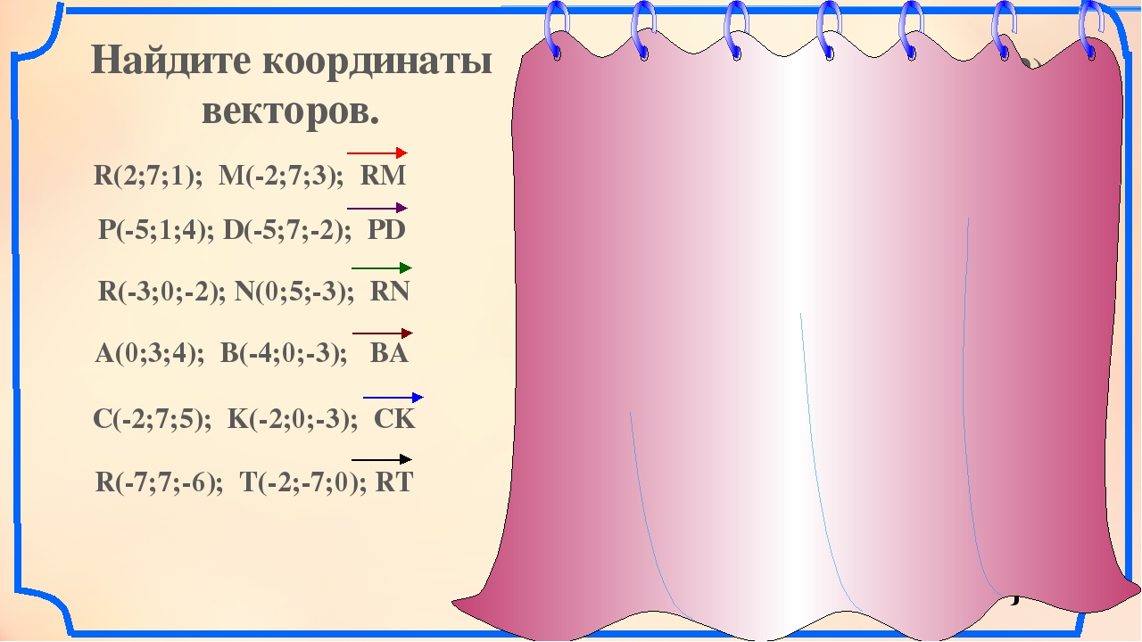 Найдите координаты векторов. R(2; 7;1) M(-2;7;3) R(2;7;1); M(-2;7;3); RM P(-5...