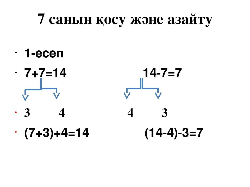 7 санын қосу және азайту 1-есеп 7+7=14 14-7=7 3 4 4 3 (7+3)+4=14 (14-4)-3=7