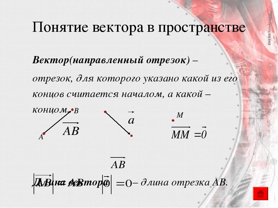 Понятие вектора в пространстве Вектор(направленный отрезок) – отрезок, для ко...