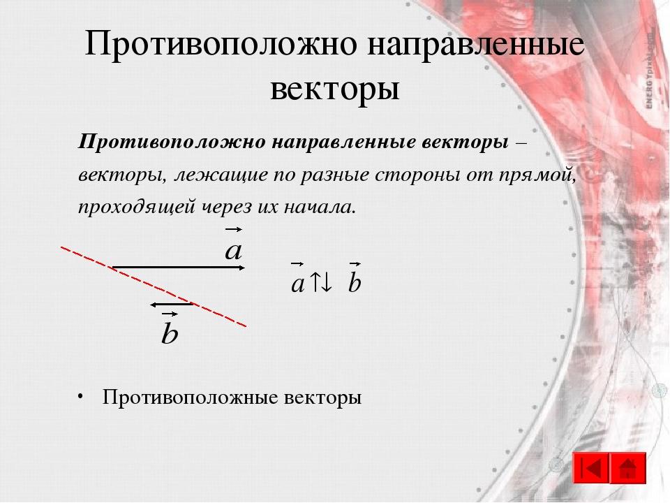 Противоположно направленные векторы Противоположно направленные векторы – век...