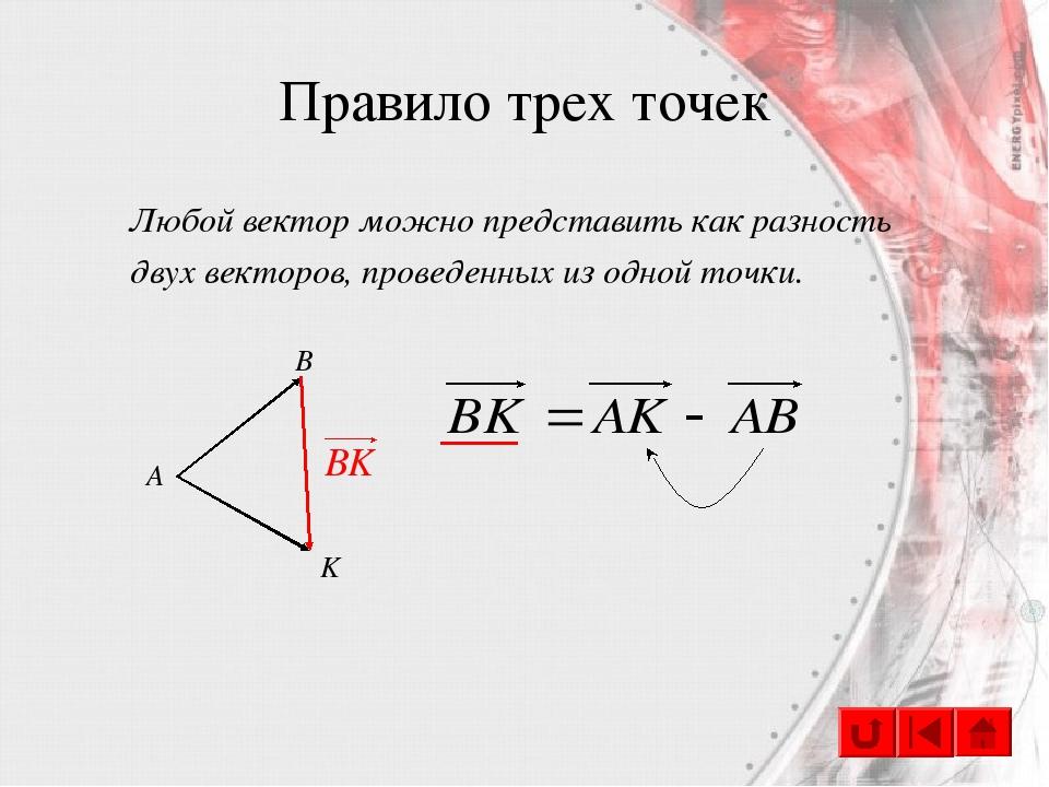 Правило трех точек Любой вектор можно представить как разность двух векторов,...