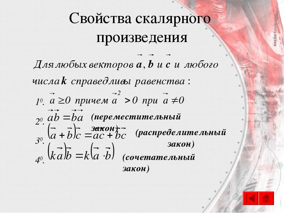 Свойства скалярного произведения 10. 20. 30. 40. (переместительный закон) (ра...