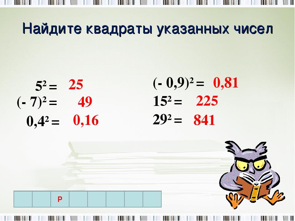 Найдите квадраты указанных чисел 52 = (- 7)2 = 0,42 = (- 0,9)2 = 152 = 292 =...