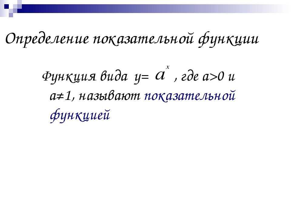 Определение показательной функции Функция вида у= , где а>0 и а≠1, называют п...