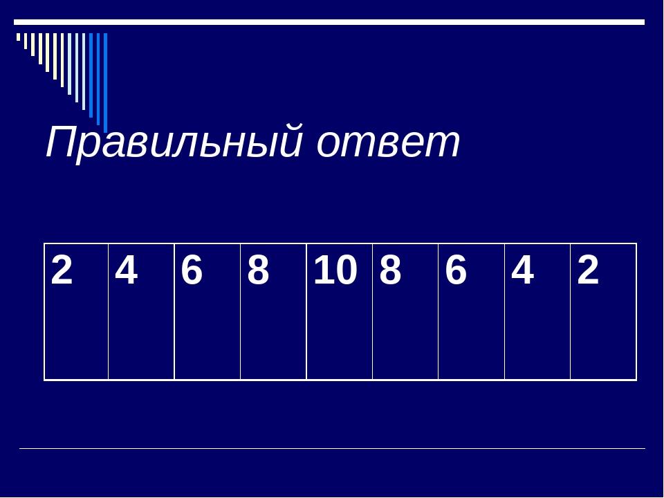 Правильный ответ 2 4 6 8 10 8 6 4 2