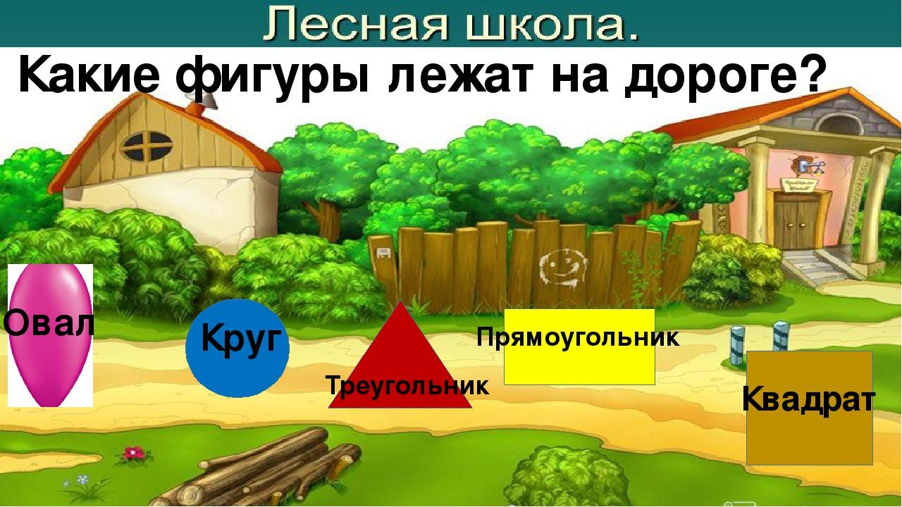 Какие фигуры лежат на дороге? Овал Круг Треугольник Прямоугольник Квадрат