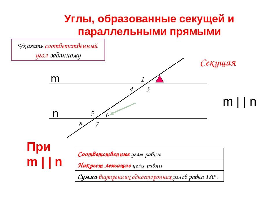 1 4 3 5 7 8 6 Указать соответственный угол заданному Сумма внутренних односто...