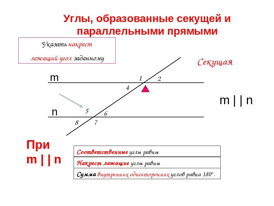 1 2 5 8 7 4 6 Сумма внутренних односторонних углов равна 180o . Соответственн...
