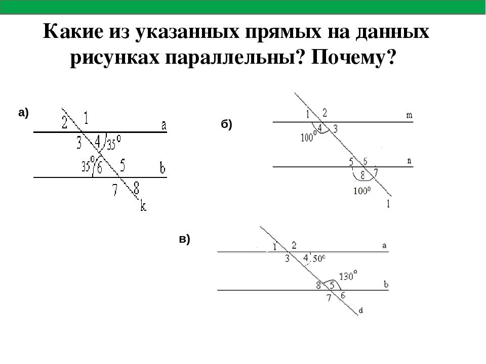 Какие из указанных прямых на данных рисунках параллельны? Почему? а) б) в)