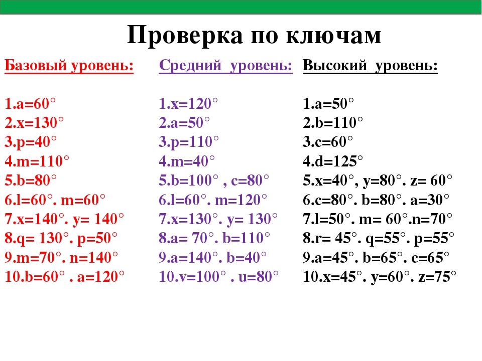 Базовый уровень: а=60° х=130° р=40° m=110° b=80° l=60°. m=60° x=140°. y= 140°...