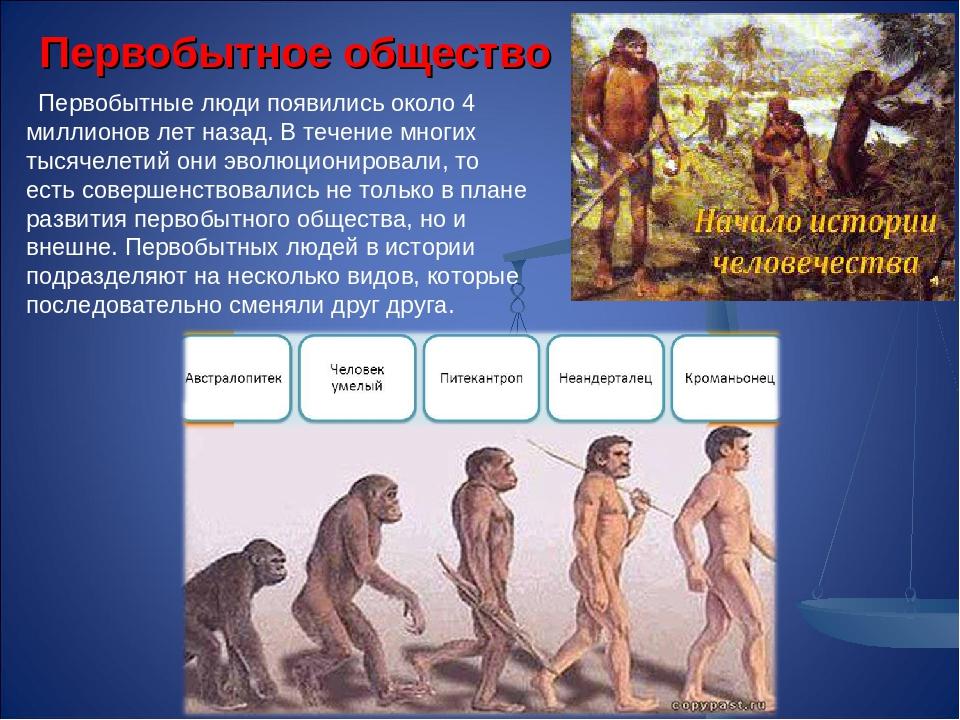 Первобытное общество Первобытные люди появились около 4 миллионов лет назад....