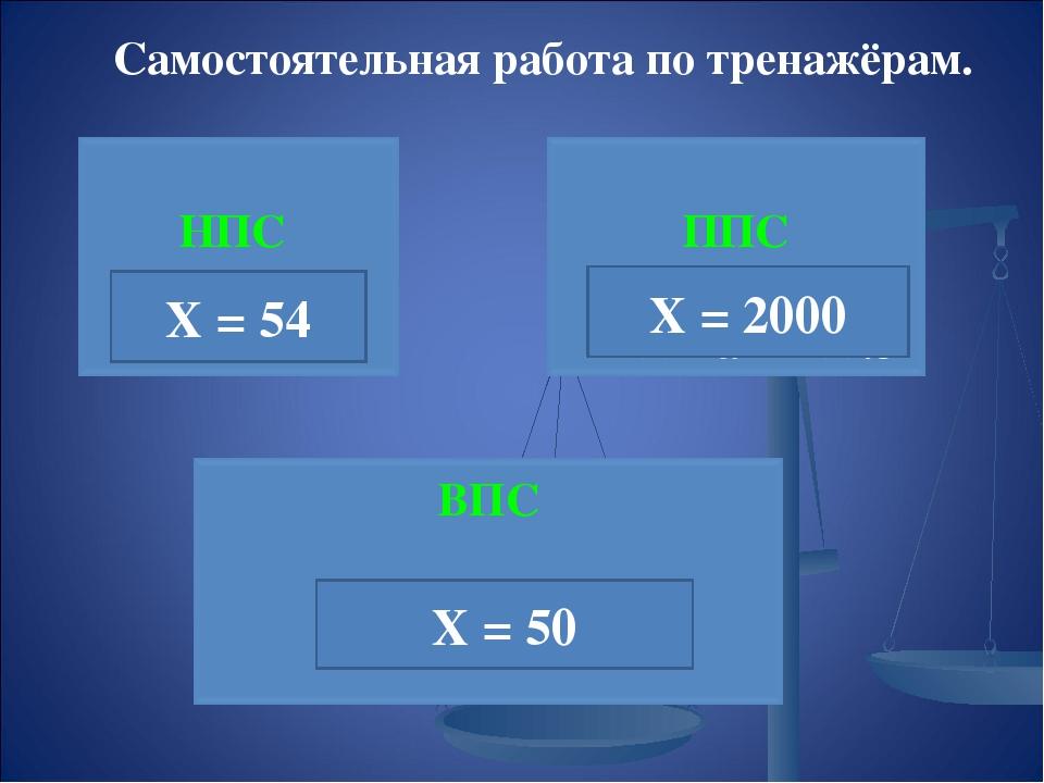 Самостоятельная работа по тренажёрам. Х = 54 Х = 2000 Х = 50