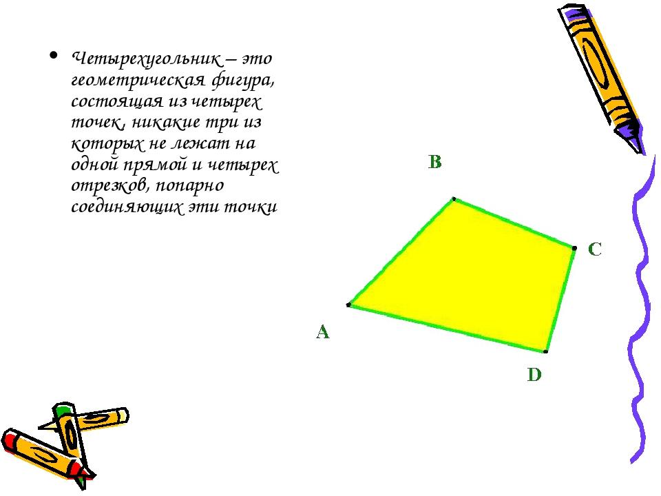 Четырехугольник – это геометрическая фигура, состоящая из четырех точек, ника...