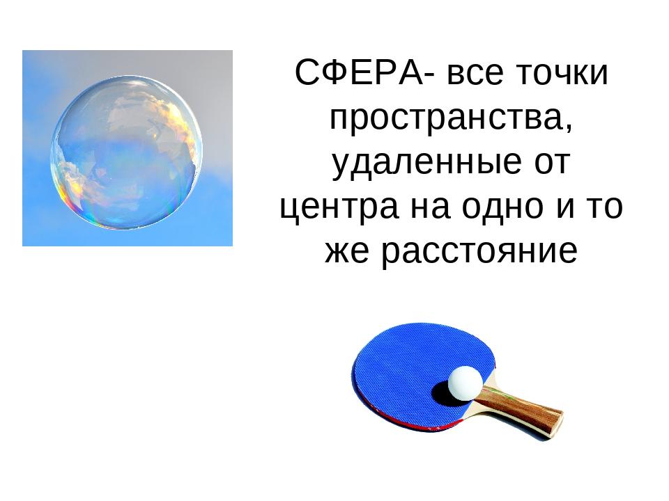 СФЕРА- все точки пространства, удаленные от центра на одно и то же расстояние