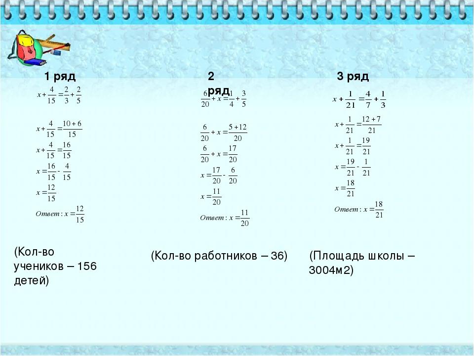 1 ряд 2 ряд 3 ряд (Кол-во учеников – 156 детей) (Кол-во работников – 36) (Пло...