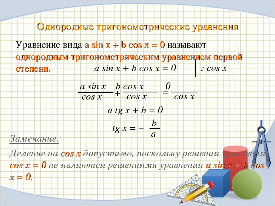 Однородные тригонометрические уравнения a sin x + b cos x = 0 Замечание. Деле...