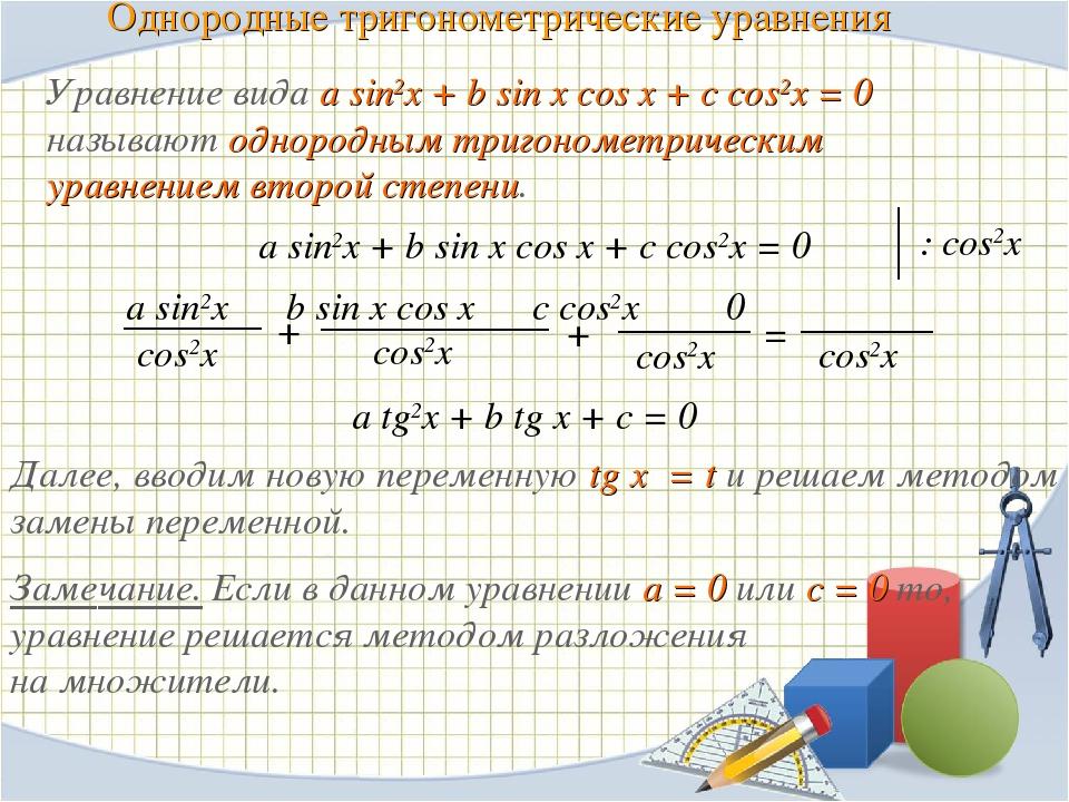 Однородные тригонометрические уравнения a sin2x + b sin x cos x + c cos2x = 0...