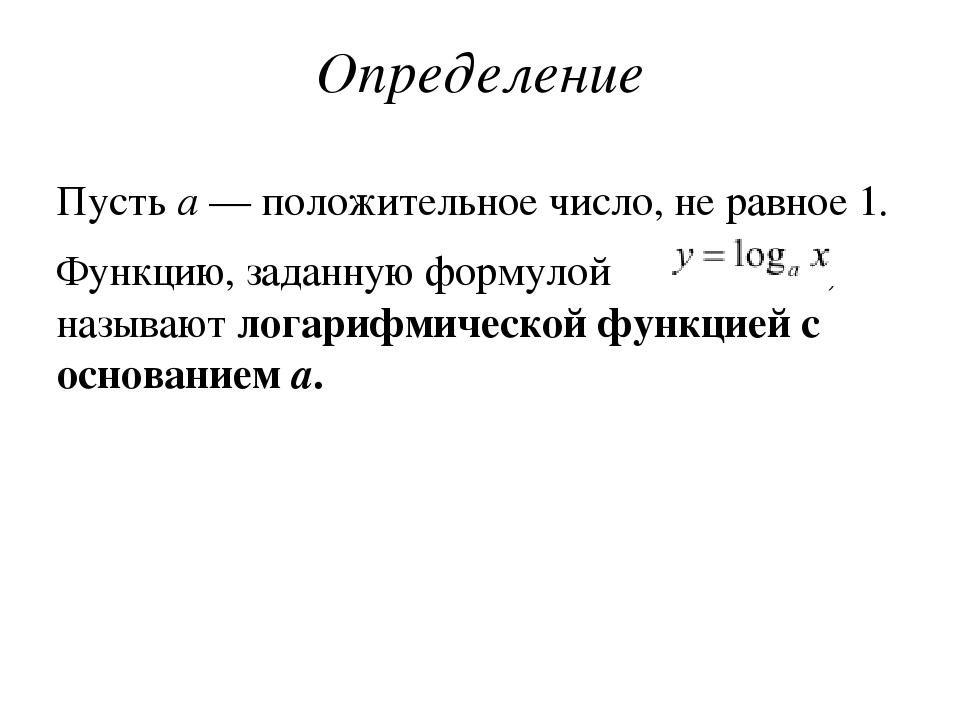 Определение Пустьa— положительное число, не равное 1. Функцию, заданную фор...