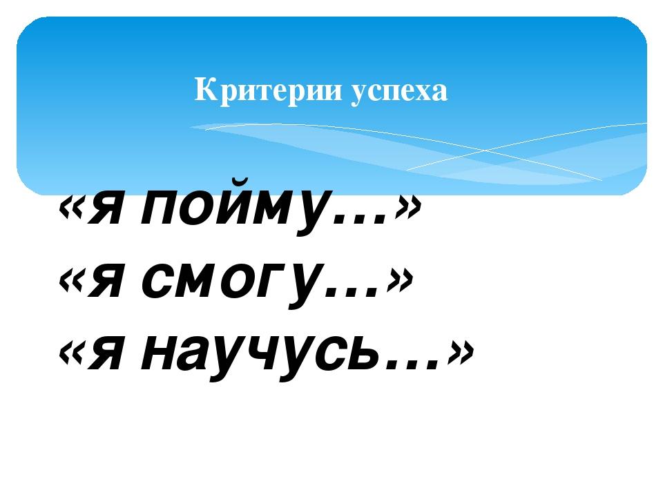 Критерии успеха «я пойму…» «я смогу…» «я научусь…»
