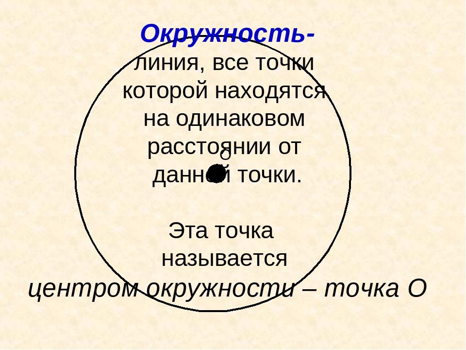 О Окружность- линия, все точки которой находятся на одинаковом расстоянии от...
