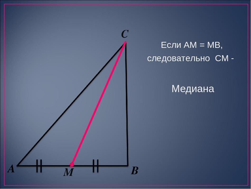А В М С Если АМ = МВ, следовательно СМ - Медиана