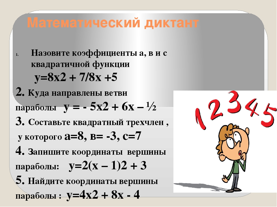 Математический диктант Назовите коэффициенты а, в и с квадратичной функции у=...